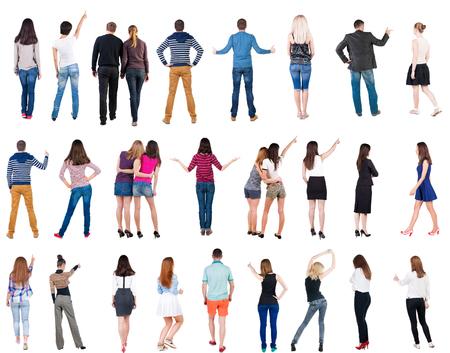 """Collection """"Rückansicht Menschen"""". Rückansicht Menschen gesetzt. Rückansicht der Person. Isolierte über weißem Hintergrund. Standard-Bild"""
