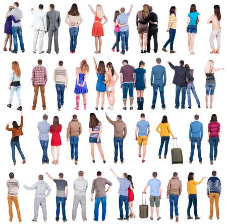 """Collectie """"Back bekijken volk"""". Achteraanzicht mensen stellen. achterzijde uitzicht van zijn persoon. Geïsoleerd over witte achtergrond. Stockfoto"""