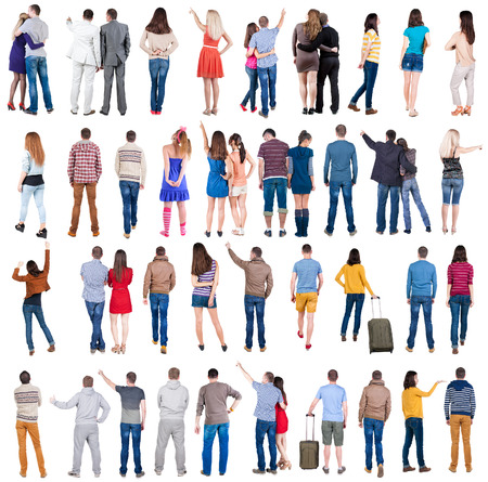 """Collectie """"Back bekijken volk"""". Achteraanzicht mensen stellen. achterzijde uitzicht van zijn persoon. Geïsoleerd over witte achtergrond."""