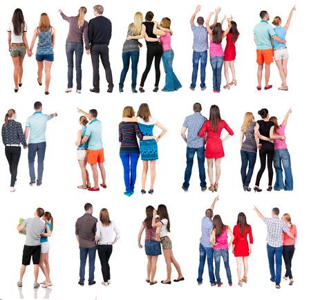 """collectie """"Terug oog van de groep mensen"""". set """"Achterkant persoon team"""" Op wit wordt geïsoleerd."""