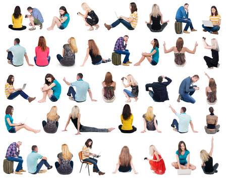 see side: Collection back view of sitting people.  .  backside view of person.  Rear view people set. Isolated over white background.