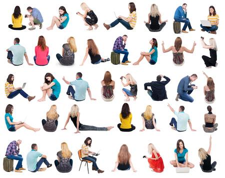 Vista posterior Colección de personas sentadas. . trasero vista de la persona. Vista trasera gente establecen. Aislado sobre fondo blanco. Foto de archivo - 35127027