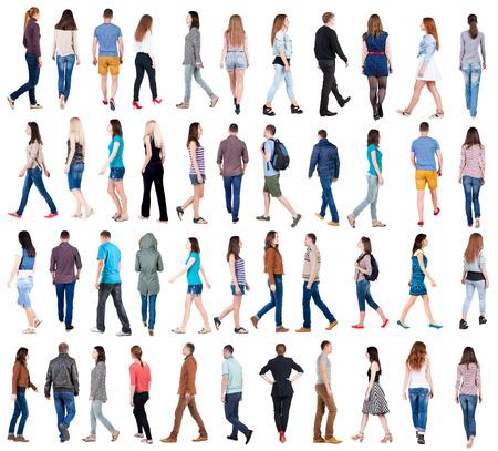"""personas de pie: colección """"Vista posterior de caminar la gente"""". va la gente en el conjunto del movimiento. trasero vista de la persona. Vista posterior recogida de las personas. Aislado sobre fondo blanco."""