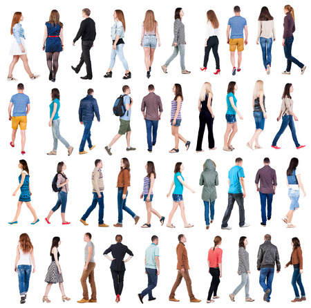 from side: collection  back view of walking people . going people in motion set.  backside view of person.  Rear view people collection. Isolated over white background. Stock Photo