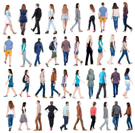 """samlingen """"vy bakifrån av gång människor"""". kommer människor i rörelse set. vy bakifrån av person. Bakifrån folk samling. Isolerade över vit bakgrund."""