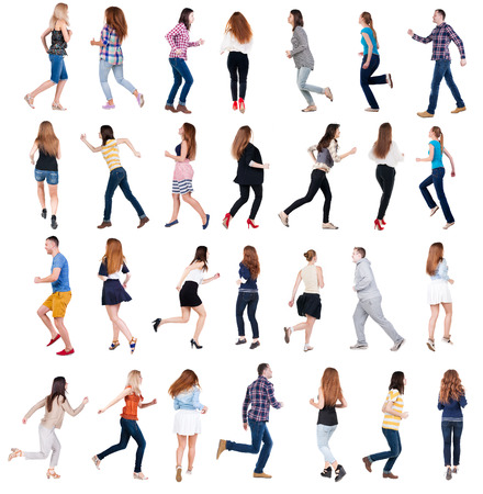 collection  back view of running people . walking people in motion set.  backside view of person.  Rear view people collection. Isolated over white background. photo