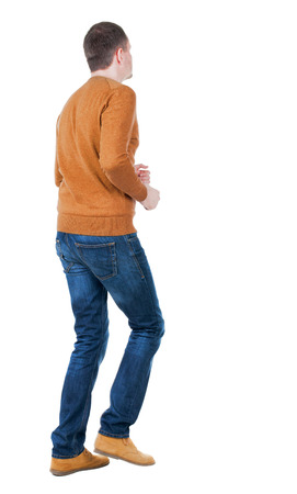 observes: back view of running man in blue pullover. walking guy in motion. Rear view people collection.  backside view of person. Isolated over white background.