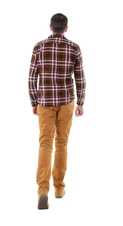 striding: Back view of going  handsome man in checkered shirt. walking young guy . Rear view people collection.  backside view of person.  Isolated over white background. Stock Photo