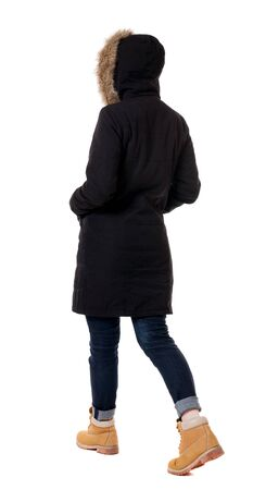 parka: Back view of going  woman in parka. walking young girl. Rear view people collection.  backside view of person.  Isolated over white background.