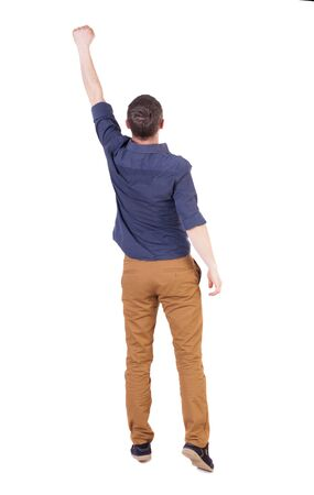 victory sign: Back view of  man in checkered shirt Raised his fist up in victory sign.   Rear view people collection.  backside view of person.  Isolated over white background.
