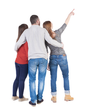 back view of man: Back view of three friends pointing. group of people watching somewhere. Rear view people collection.  backside view of person.  Isolated over white background.