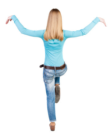 stumble: Balancing young woman.  or dodge falling woman. Rear view people collection.  backside view of person.  Isolated over white background.