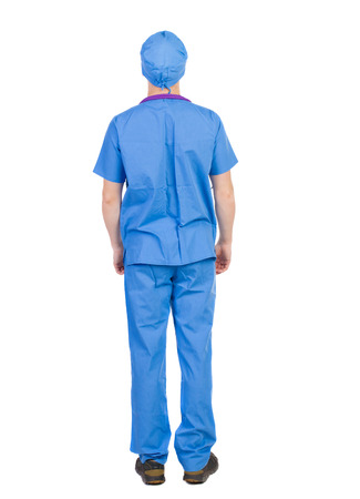 Back view of doctor in robe. Standing young guy. Rear view people collection.  backside view of person.  Isolated over white background. The nurse rushes to the aid photo
