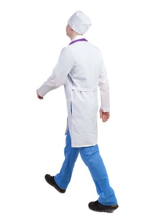 rushes: Back view of walking doctor in a robe hurrying to help the patient. Walking guy in motion. Rear view people collection. Backside view of person. Isolated over white background. The nurse rushes for surgery