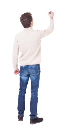 man writing: back view of writing man in a white knit sweater. Young man in jeans draws. Rear view people collection.  backside view of person. Isolated over white background.