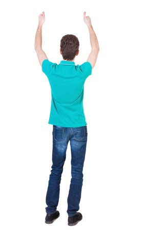 Back view of  man in shirt shows thumbs up.   Rear view people collection.  backside view of person.  Isolated over white background. Thin curly man approves. photo