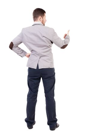 man s: Back view of  business man shows thumbs up.   Rear view people collection. cheerful office worker shows positive emotions.  backside view of person.  Isolated over white background. office worker with two hands showing symbol of success. The bearded man s