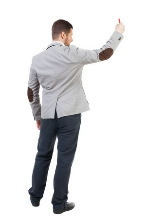 backview: Back view  of business man showing a sign board. young man holds information plate. Rear view people collection. backside view of person.  Isolated over white background. A bearded man in a suit holding a poster in his hands.