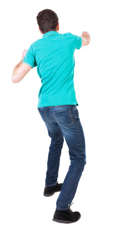 wimp: back view of skinny guy funny fights waving his arms and legs. Isolated over white background. Rear view people collection.  backside view of person. Funny guy punches right hand.