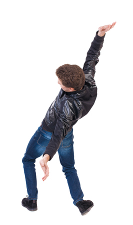 falling man: Balancing young man or dodge falling man. Rear view people collection.  backside view of person.  Isolated over white background. The guy in the leather jacket falls on his back.