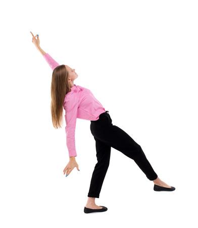 slipped: Balancing young business woman.  or dodge falling woman. Rear view people collection.  backside view of person.  Isolated over white background. Woman office worker in a pink shirt and slipped down.