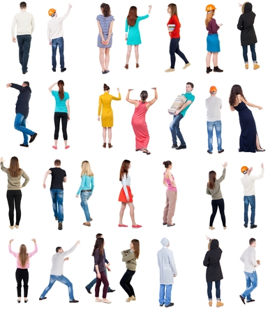 Collection  Back view people .  Rear view people set.  backside view of person.  Isolated over white background. Stock Photo