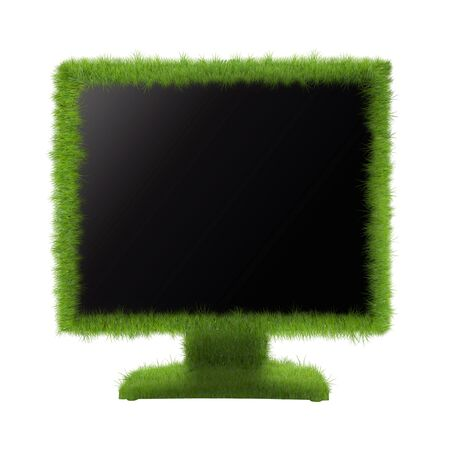 tft: Concept of eco-friendly monitor. Monitor or TV grassy. Go green!