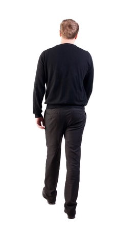 warm shirt: back view of walking  business man. going young guy in red shirt.  Isolated over white background. Rear view people collection.  backside view of person.  office worker in warm clothing goes ahead
