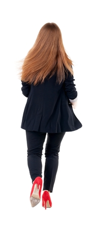 treading: running business woman. back view. going young girl in  suit. Rear view people collection.  back side view of person.  Isolated over white background.