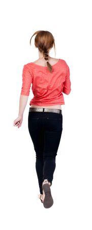 gente adulta: vista posterior de funcionamiento de la mujer en pantalones vaqueros. hermosa chica rubia en movimiento. trasero vista de la persona. Vista posterior recogida de las personas. Aislado sobre fondo blanco. Foto de archivo