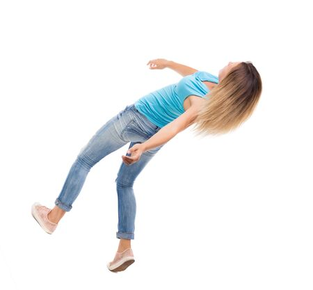 slipped: Slipping girl falls. Stock Photo