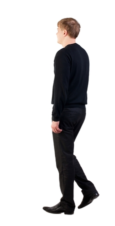 treading: back view of walking  business man. Stock Photo