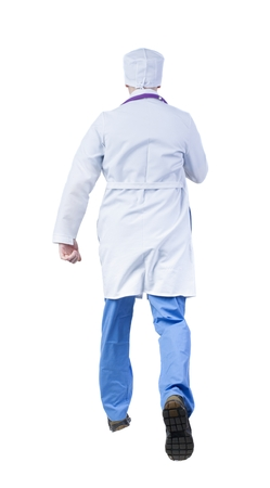 hurrying: Back view of running doctor in a robe hurrying to help the patient. Walking guy in motion. Rear view people collection. Backside view of person. Isolated over white background.