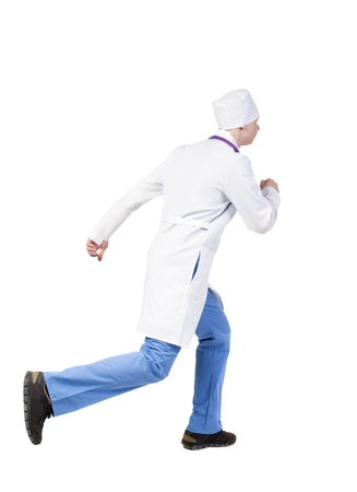 hurrying: Back view of running doctor in a robe hurrying to help the patient. Walking guy in motion. Rear view people collection. Backside view of person. Isolated over white background. The nurse rushes for surgery Stock Photo