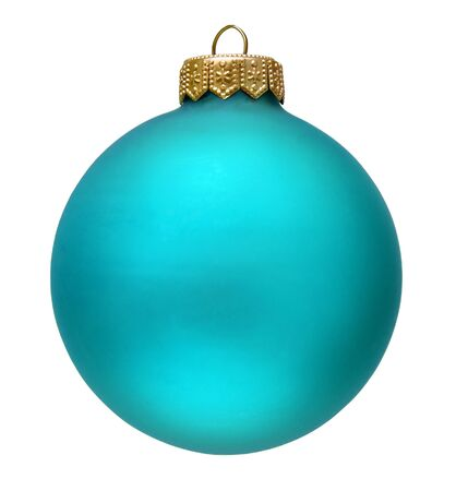 aquamarin christmas ornament . Isolated over white. Stock Photo