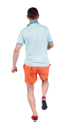 observes: Back view of running sportsman. Man in blue t-shirt and orange shorts.  Walking guy in motion. Rear view people collection. Backside view of person. Isolated over white background.