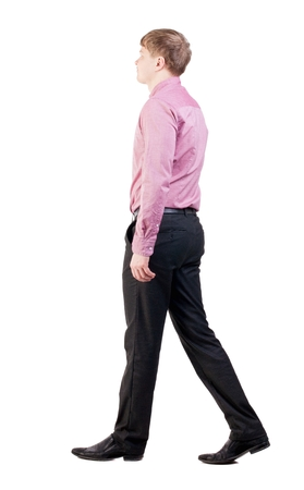 treading: back view of walking  business man.  going young guy in red shirt. office worker proudly goes ahead. Isolated over white background. Rear view people collection.  backside view of person.