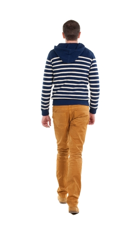 treading: Back view of going  handsome man in jeans and striped sweater.  walking young guy . Rear view people collection.  backside view of person.  Isolated over white background.