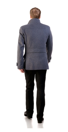 stylishly: Back view of going  stylishly dressed business man in  gray coat.  walking businessman. Rear view people collection.  backside view of person.  Isolated over white background.