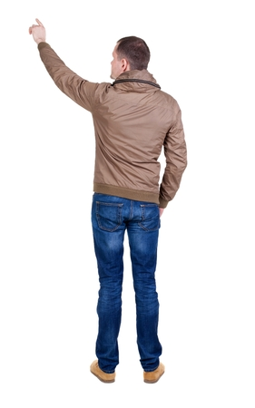 breaker: Back view of  pointing young men in  wind breaker. Young guy  gesture. Rear view people collection.  backside view of person.  Isolated over white background.