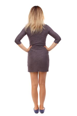 back view of standing young beautiful  woman.  girl  watching. Rear view people collection.  backside view of person. Hands on hips girl in brown dress looking ahead.