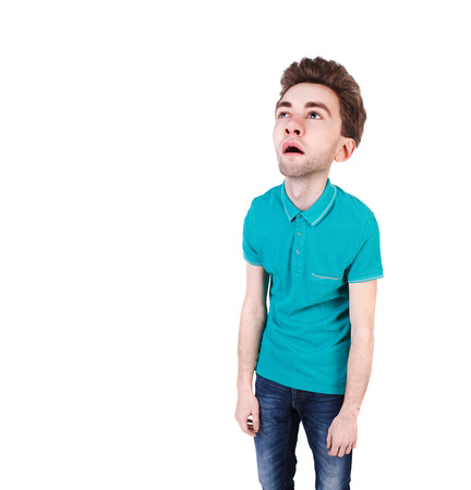 tired man: front view of a bored cartoon man with big head. tired man looking up. Isolated over white background. Bored guy. wide-angle lens.