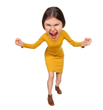 big head: Top view of the furiously screaming, angry cartoon woman with big head. Isolated on white background.