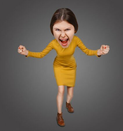 big head: Top view of the furiously screaming, angry cartoon woman with big head. Isolated on gray background. Stock Photo
