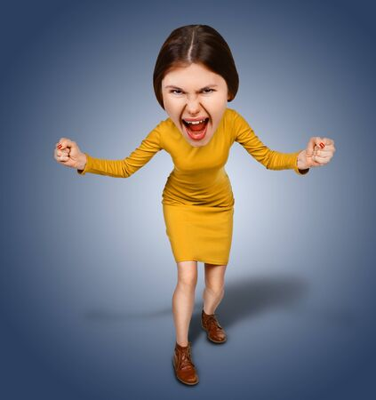 Top view of the furiously screaming, angry cartoon woman with big head. Isolated on blue background. Stock Photo