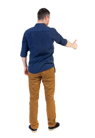 rolled up sleeves: Back view of  business man shows thumbs up.   Rear view people collection. cheerful office worker shows positive emotions.  backside view of person.  Isolated over white background. a man in a blue shirt with the sleeves rolled up showing the right hand t