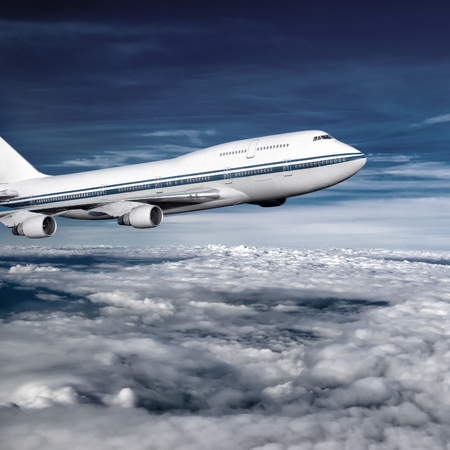 air transport: passenger airplane in the clouds. travel by air transport. flying to the top of the airliner. nobody