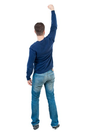 Back view of  man.  Raised his fist up in victory sign.   Rear view people collection.  backside view of person.  Isolated over white background. bearded man in blue pullover raised his fist up