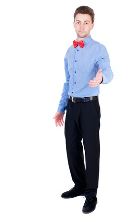 separates: Referee suit and tie butterfly separates boxers. Isolated over white background. Proud businessman holds out his hand in greeting.