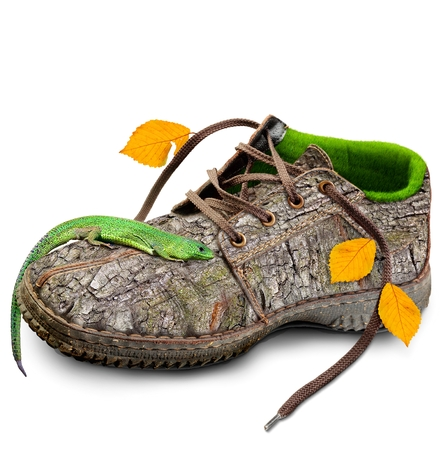 Concept Eco friendly shoes.  go green. think green. Shoes made of natural materials. Winter shoes from the bark of a tree, grass and leaves. Isolated over white background. Foto de archivo
